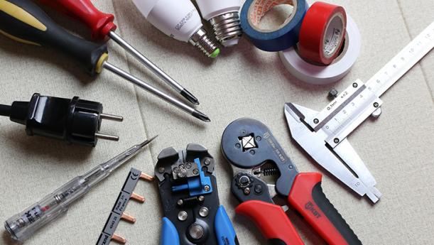 screwdriver, pliers, tape, tools