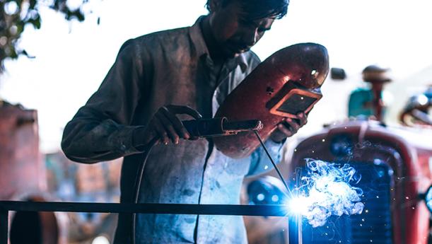 worker soldering mask